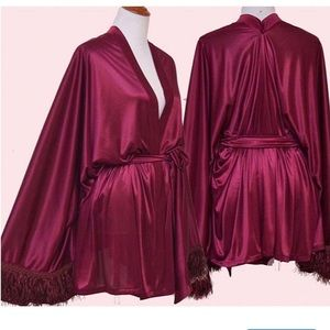Jackets & Blazers - Cherry red kimono with fringe bell sleeves